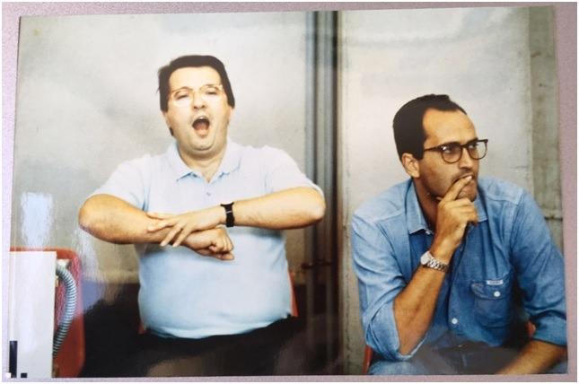 Un divertito Maurizio Gherardini e Cesare Pancotto ai tempi di Forlì, alla fine degli anni '80