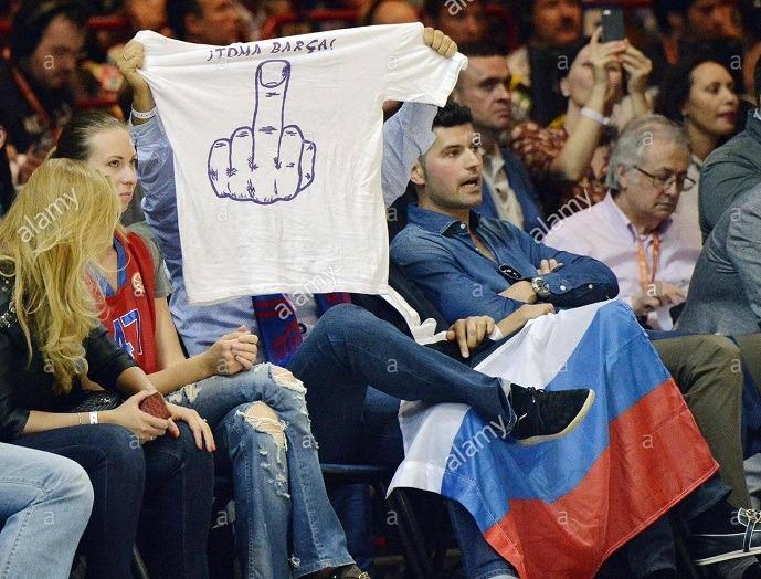 Questo tifoso russo non è grande amante della Catalogna